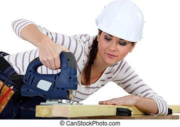 使用, 女性, 木匠, jigsaw.