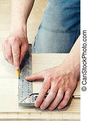 使用, 工作, 金屬, 木匠, 角度