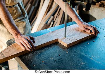 使用, 部分, 木匠, 看見, 結合, 在外, 木頭, 傷口