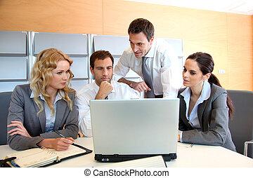 便攜式電腦, 會議, 辦公室, 事務