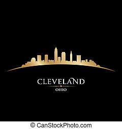 俄亥俄州布萊克, 背景, 克利夫蘭, 地平線, 城市, 黑色半面畫像