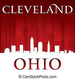 俄亥俄, 背景, 克利夫蘭, 地平線, 城市, 紅色, 黑色半面畫像