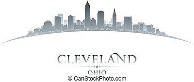 俄亥俄, 背景, 克利夫蘭, 地平線, 城市, 黑色半面畫像, 白色