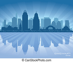 俄亥俄, 辛辛那提, 地平線, 矢量, 城市, 黑色半面畫像