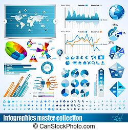 保險費, histograms, elements., 圖象, 全球, 圖, 圖表, 設計, 箭, 簽, infographics, 掌握, collection:, 相關, 3d