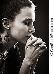 信心, 婦女, -, 禱告, 宗教