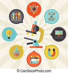 信息, 套間, 概念, 科學, 平面造型設計, style.