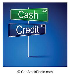 信用, 現金, 路, 方向, 徵候。
