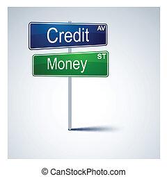 信用, 錢, 路, 方向, 徵候。