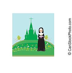 修女, 前面, 祈禱, 教堂