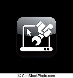 修理, 被隔离, 插圖, 個人電腦, 單個, 矢量, 圖象