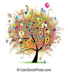 假期, 有趣, 愉快, 樹, baloons