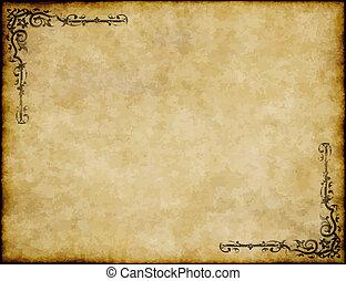 偉大, 老, 結構, 紙, 設計, 背景, 裝飾華麗, 羊皮紙