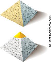 偉大, 集合, 金, 埃及人, 帽子, 一, 金字塔, 金字塔