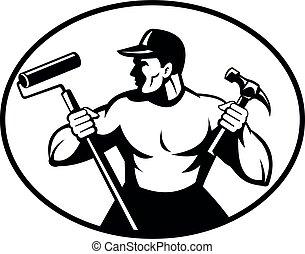 做零活的人, 或者, 畫, retro, 錘子, 黑色, 白色, 藏品, 畫家, 木匠, 建造者, 滾柱