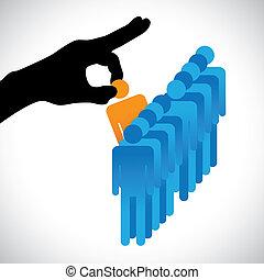 做, 人, 其他, 圖表, 候選人, 公司, hr, 選擇, 最好, 顯示, 右手, 黑色半面畫像, 選擇, 工作, 技能, 很多, employee., 插圖, 代表, 概念