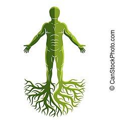 做, 古老, 人, 上帝, concept., 運動, 樹, 凱爾特語, roots., 矢量