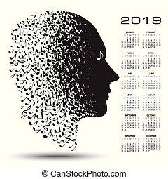 做, 注釋, 2019, 日曆, 音樂, 人