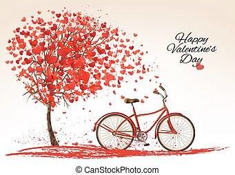 做, 背景, 情人是, 樹, 自行車, hearts., vector., 在外的天