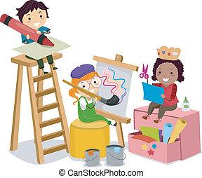 做, 藝術, 孩子, stickman, 工藝