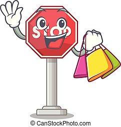 停止, 邊, 街道, 吉祥人, 購物, 簽署, 卡通