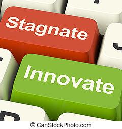 停滯, 鑰匙, 停滯, 進步, 革新, 選擇, 電腦, 成長, 或者, 顯示