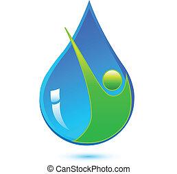 健康的水, 下降, 人, 標識語