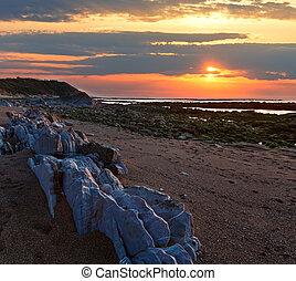 傍晚, 看法, 多石, 海灘, 海洋
