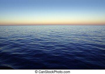 傍晚, 美麗, 日出, 天空, 在上方, 藍色, 紅色, 海洋, 海