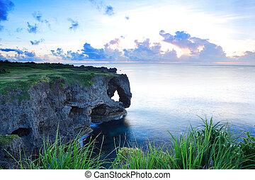 傍晚, okinawa, manzamo, 岩石