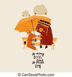 傘, 卡通, 在下面, 動物, 讀書, 有趣