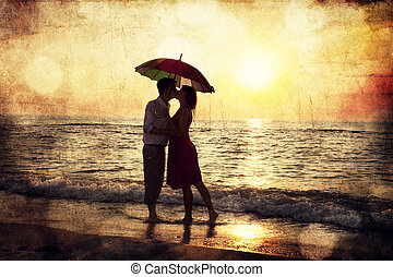 傘, 相片, 夫婦, 圖像, 在下面, 老, sunset., 海灘, style., 親吻
