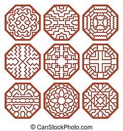 傳統, 圖樣, 符號, 矢量, 裝飾品, 韓國語