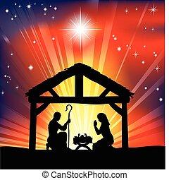 傳統, 誕生, 基督教徒, 圣誕節場景