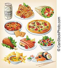 傳統, 食物, 集合, icons.