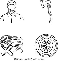 傷口, 日誌, logs., 木匠, 支持, 斧