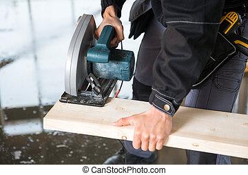 傷口, 電, 木匠, 中部, 木頭, 使用, 看見