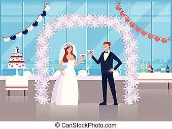 儀式, 套間, 圖表, concept., 新郎, 插圖, 新娘, 矢量, 設計, 字符, 婚禮, 卡通