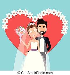 儀式, 心, 花, 新郎, 一起, 裝飾, 新娘, 婚禮