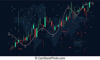 儀表板, analytics, 插圖, 圖表, 背景, 商人, 矢量, 市場, 片斷, 股票, 財政世界, 市場, 規模, 地圖