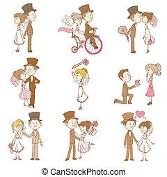 元素, 婚禮, -, 矢量, 設計, 剪貼簿, 邀請, doodles