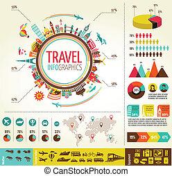 元素, 數据, 旅行圖象, infographics, 旅遊業