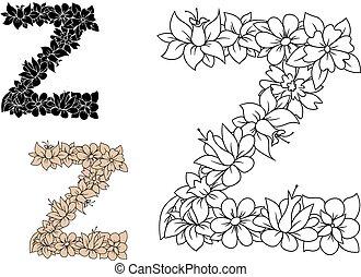 元素, 葡萄酒, 信, 植物, 裝飾, z