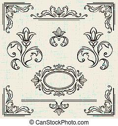 元素, 葡萄酒, calligraphic, 裝飾, frames., 設計, 頁