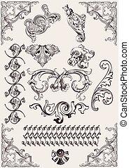 元素, calligraphic, 裝飾, 矢量, 設計, 頁, set: