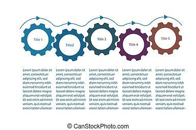 元素, infographics, 齒輪, 嵌齒輪, 旋轉