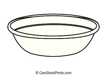 充分, 碗, 被隔离, 黑色, 白色, 卡通, 圖象