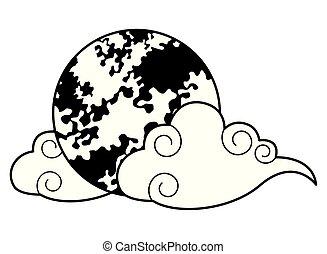 充分, 符號, 被隔离, 月亮, 黑色, 白色, 卡通