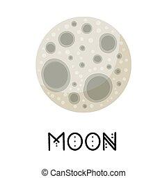 充分, 被風格化, astronomic, 矢量, image., 媒介, 月亮, 標識語, 卡通, glyph, 被隔离, 圖象