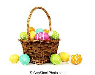 充滿, 籃子, 復活節, 鮮艷, 蛋